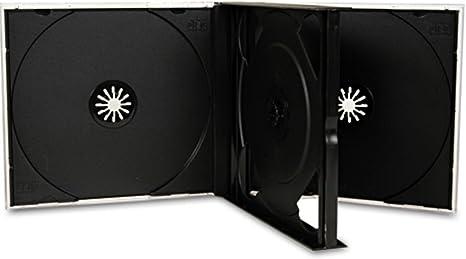 Estuche para CD o DVD de Four Square Media, 3 compartimentos para 3 discos, 25 mm, con bandeja negra, lote de 10 unidades: Amazon.es: Informática