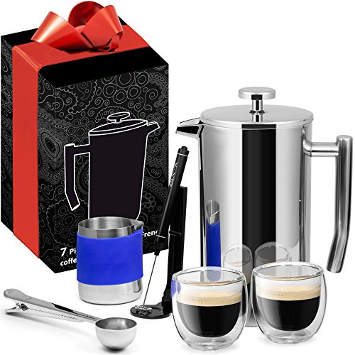 French Press Coffee Maker Stainless Steel 7 Piece Set 34oz