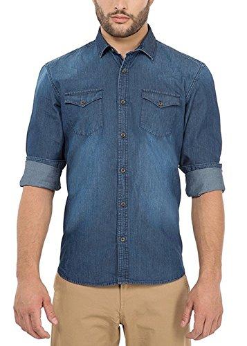 Urbano Fashion Men #39;s Dark Blue Casual Denim Shirt