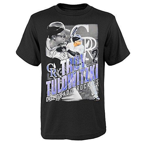 Outerstuff Troy Tulowitzki MLB Colorado Rockies Player Photo Black T-Shirt Youth (XS-XL)