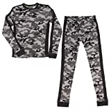 Cuddl Duds (2 Piece Boys Long Underwear Set Long Johns Thermal Base Layer Kids Tops and Bottoms Gray Camo Size Large 12-14