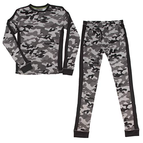 - Cuddl Duds (2 Piece Boys Long Underwear Set Long Johns Thermal Base Layer Kids Tops and Bottoms Gray Camo Size Large 12-14