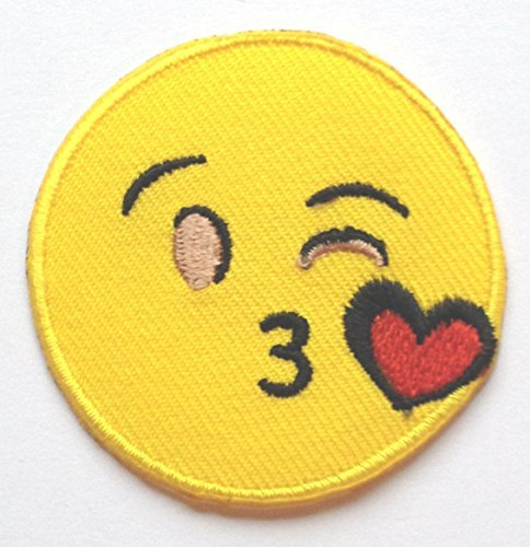 Throwing Kiss Emoji Patch Embroidered Iron on Badge Applique Motif DIY Customize Bag Hat T-Shirt Collectible Text Blow Kiss Love Heart Face ()