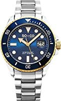 SO&CO New York Men's 5025.2 Yacht Timer Quartz Blue Dial Date Luminous Accent Stainless Steel Link Bracelet Watch