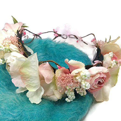 Price comparison product image MeeTHan Daisy Flower Crown Tiaras Headbands : S11 (Daisy-Pink)