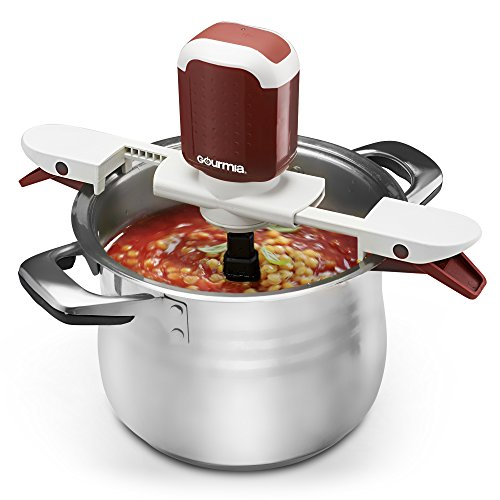 Gourmia GST210 Stiriffic Adjustable Pot & Pan Hands Free Automatic Stirrer - Red - Free Recipe E-book Included