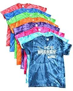 Ice Hockey Tie Dye T-Shirt with Distressed Ice Hockey Logo (Fuchsia, YM)