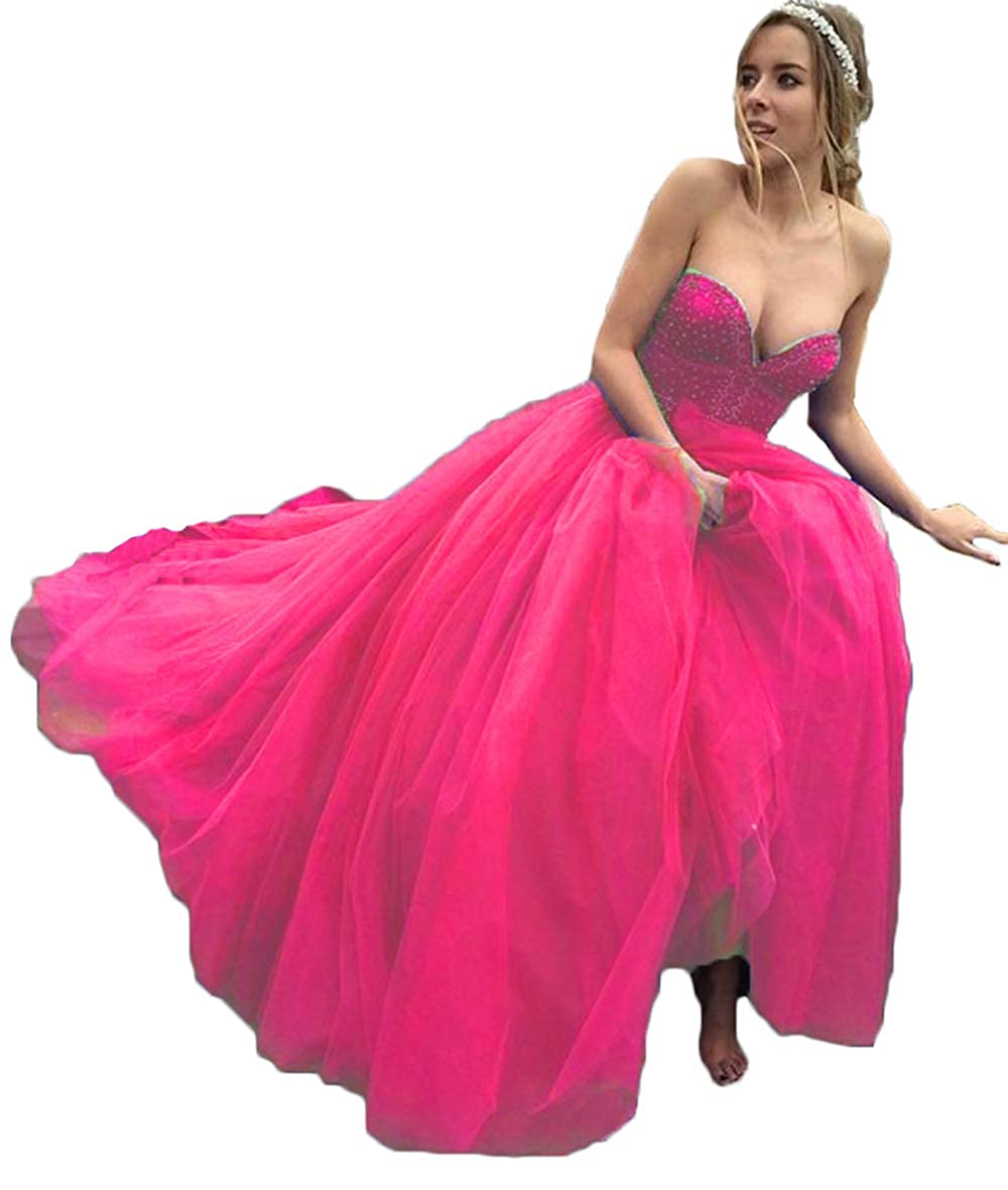Hot Pink alilith.Z Sexy Sweetheart Prom Dresses Beaded Puffy Tulle Princess Quinceanera Dresses Party Gowns for Women