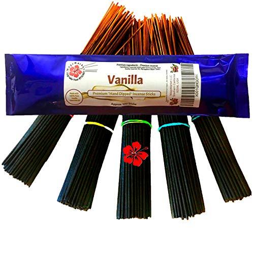 Vanilla Incense - WagsMarket Premium Hand Dipped Incense Sticks, You Choose The Scent. 100-12in Sticks. (Vanilla)