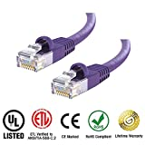 Huetron 100-Pack Cat 6 Ethernet Snagless Patch Cable (Supports Cat6/5e/5) 2 Feet - Computer LAN Network Cord, PURPLE