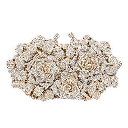 Fawziya Rose Clutch Purse Oversized Floral Handbags For Women Evening Clutches-AB Gold ()