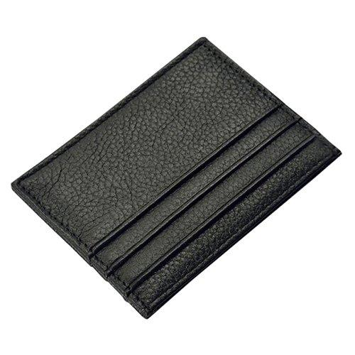 HUAhuako Faux Leather Wallet, Men's Slim Credit Card Holder Coin Pocket Money Bag Purse Black