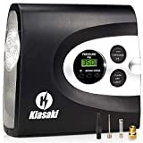 Kiasaki Digital Tire Inflator for Car W/Pressure Gauge - Portable Air Compressor - Electric Auto Pump | Easy to Store - Auto Shut Off - 12V DC - 3 Attachments – Bonus Carrying Case
