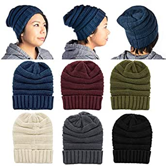 Great Womens Slouchy Ribbed Knit Chunky Beanie Winter Hat