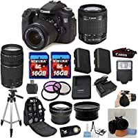 Canon EOS 70D Camera Body with Canon 18-55mm STM Standard Lens Celltime Exclusive Bundle with Canon 75-300mm III Zoom Lens + .43x Wide Angle Lens + 2.2x Telephoto Lens + Professional Hand Grip + Full Size Tripod + Extra High Capacity Battery + Extra AC/DC Rapid Charger + 2pcs 16GB Memory Cards + 24pc Accessory Bundle Kit Explained Review Image