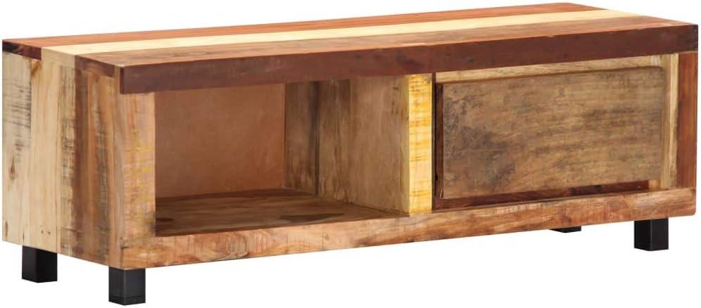 UnfadeMemory Mueble para TV,Mesa para TV,Mesa Baja para Salón Dormitorio,Estilo Vintage,con 1 Cajón y 1 Compartimento,Madera Maciza de Reciclada 100x30x33cm