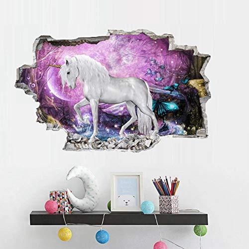 XUE Unicornio 3D Pegatinas de Pared Hacer Pegatinas Fondos de Pantalla Manualidades Habitación de Niños Mural Graffiti PVC...
