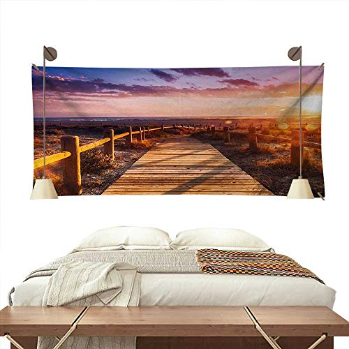 ScottDecor Landscape Wall Tapestry Sunset with Clouds in Cabo de Gata Nijar Natural Park Bridge Way with Fences Colorful Tapestry 60W x 40L InchMulticolor