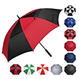 BAGAIL Golf Umbrella 68/62/58 Inch Large Oversize Double Canopy Vented Windproof Waterproof Automatic Open Stick Umbrellas for Men and Women (Red Black, 62 inch)