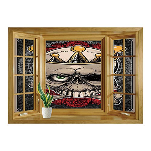 SCOCICI Window Mural Wall Sticker/Gothic Decor,Skull with Crown Roses Bones Dead King Halloween Illustration,Tan Marigold Dark Grey red/Wall Sticker Mural