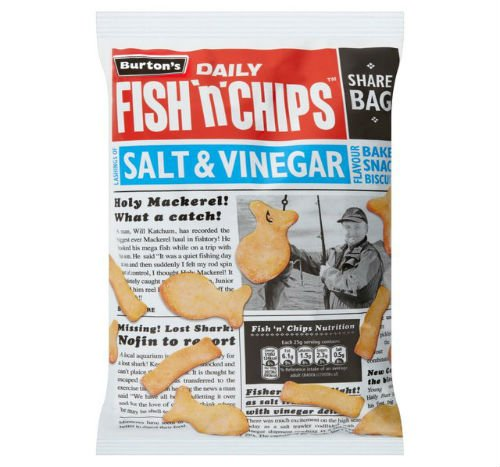 Burtons Daily Fish N Chips Salt Vinegar Flavour Baked Snack Biscuits 125G Case of 2 Burton's
