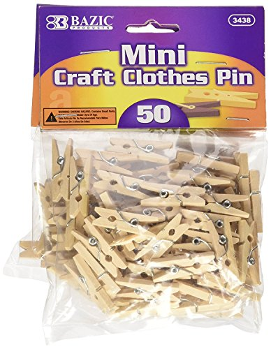 BAZIC Mini, Natural Clothespins, Wood, 50 Per Pack 3]()