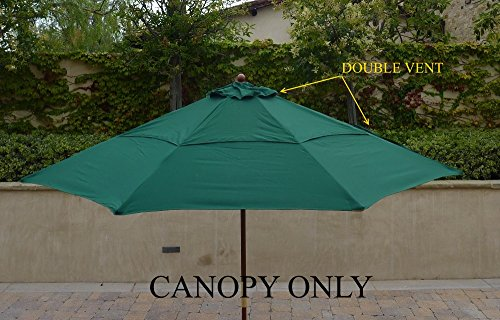 Double Vented 9ft Replacement Canopy 8 ribs in Green