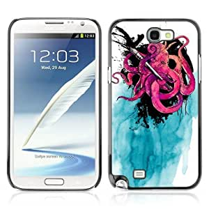 Designer Depo Hard Protection Case for Samsung Galaxy Note 2 N7100 / Cool Octopus & Ink painting