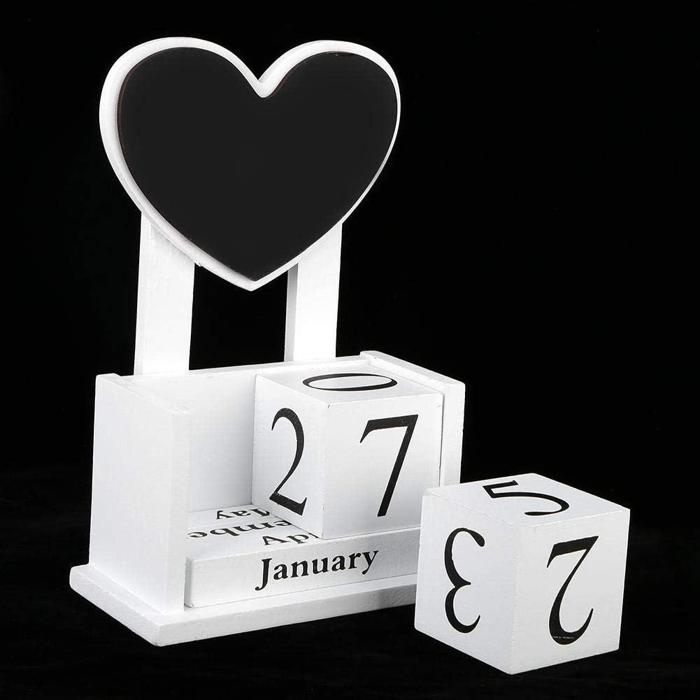 Cuque Calendario Manuale a Forma di Cuore Mese perpetuo Settimana Blocchi Data Calendario Accessorio Calendario Ornamenti con Lavagna Piccola