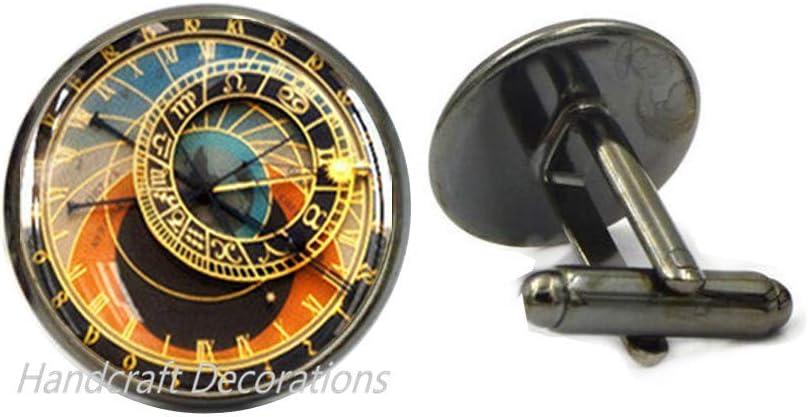 HandcraftDecorations Astronomical Clock Cuff Links, Clock Cufflinks, Prague Cufflinks, Prague, Geekery Clock, Clock Charm, Steampunk Clock Jewelry, Steampunk Cufflinks.F050