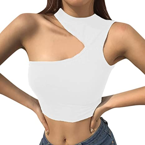 f6ab15cccbe7e Amazon.com  Sport Yoga Sleeveless Tank Top Women Sexy One Shoulder Hollow Vest  Tank Top Crop Blouse Tee Gym Fitness Toponly  Appliances