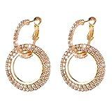 Women Earrings Luxury Jewelry Round Diamond Fancy Glitter Stud Bohemian Circle Hoop Earrings Valentine's Day Gift (Gold)