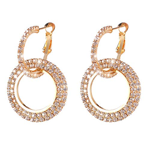 (Bokeley Wome Earrings, Fashion Exquisite Luxury Round Diamond Crystal Drop Earrings Bling Glitter Ear Stud for Women (Gold))