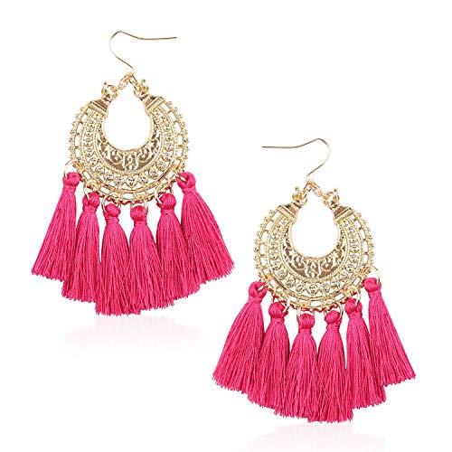 Tassel Hoop Statement Earrings for Women Girls Handmade Bohemian Alloy Thread Fringe Drop Dangle Trendy Light Hook Ear Jewelry Accessories Gift for Ladies with Gushion Present Box GUE150 Rose Pink