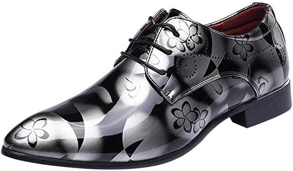 Juleya Zapatos de los Hombres de Negocios Zapatos de Ocio con Cordones Formales Derby Zapatos de Cuero de la PU Oxford Floral Zapatos de Vestir de Boda 38-48