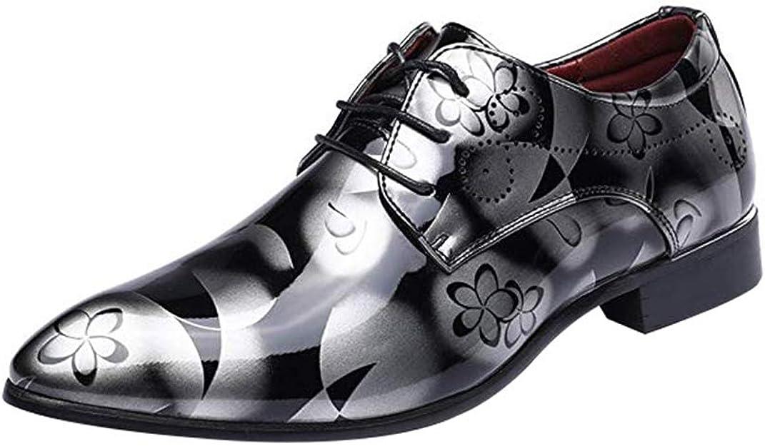 TALLA 42 EU. Juleya Zapatos de los Hombres de Negocios Zapatos de Ocio con Cordones Formales Derby Zapatos de Cuero de la PU Oxford Floral Zapatos de Vestir de Boda 38-48