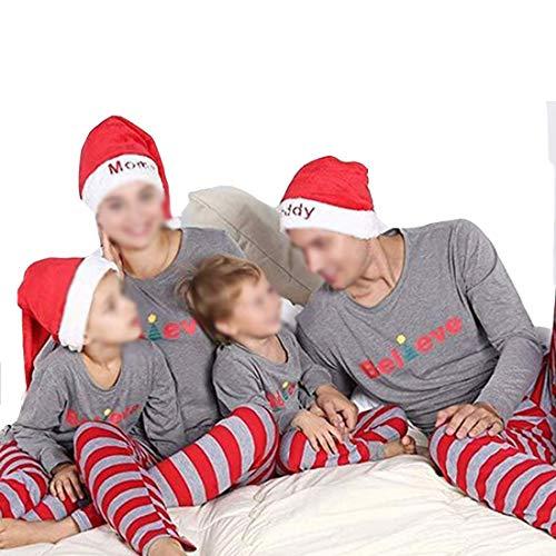 Family Matching Christmas Tree Pajamas Set, Letter Printed Tops Striped Pants Pjs Holiday Sleepwear (Kids, 8-10T) -