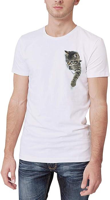 VPASS Camiseta para Hombre, Verano Manga Corta Impresión Moda Diario Blanco Casual T-Shirt Blusas Camisas Camiseta Jaspeada de Cuello Redondo Suave básica Camiseta Diseño de Personalidad: Amazon.es: Ropa y accesorios