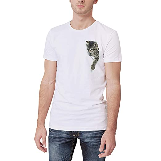 8b9a5ba1b3e4 Amazon.com  Allywit-Mens Summer White Personality Cute Cat Printing O-Neck  Short Sleeve T-Shirt Top  Clothing