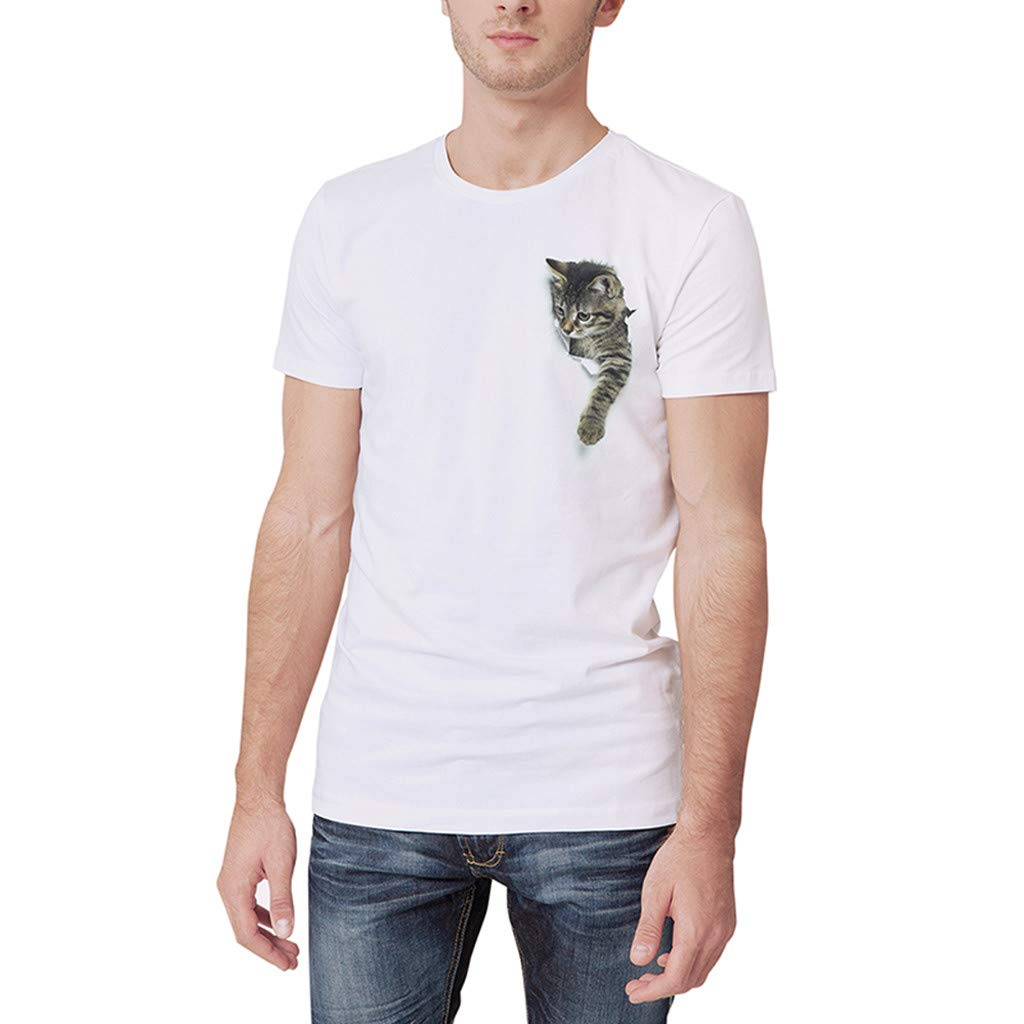 Allywit-Mens Summer White Personality Cute Cat Printing O-Neck Short Sleeve T-Shirt Top
