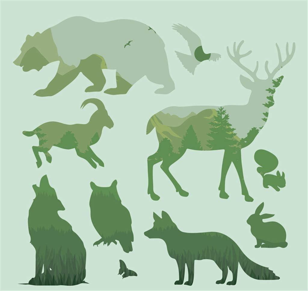 Forest Animals Shapes Reusable Mylar Stencils,Horse/Deer/Wolf Template Crafts for Kids(12 Packs 4.7