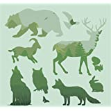 """Forest Animals Shapes Reusable Mylar Stencils,Horse/Deer/Wolf Template Crafts for Kids(12 Packs 4.7"""" x4.7"""" )"""