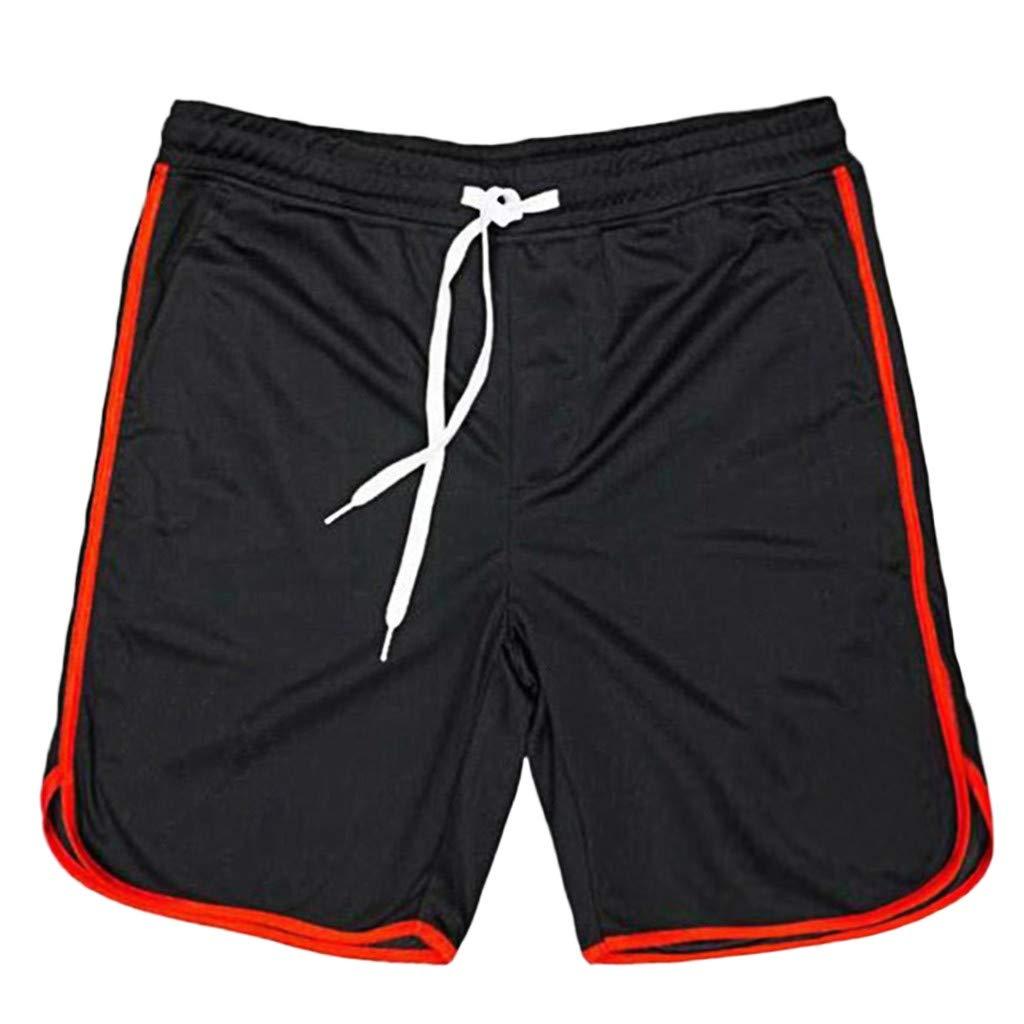 Shorts for Men, F_Gotal Men's Rope Stretch Mesh Pocket Sports Shorts Elastic Waist Training Jogger Shorts Sweatpants Red