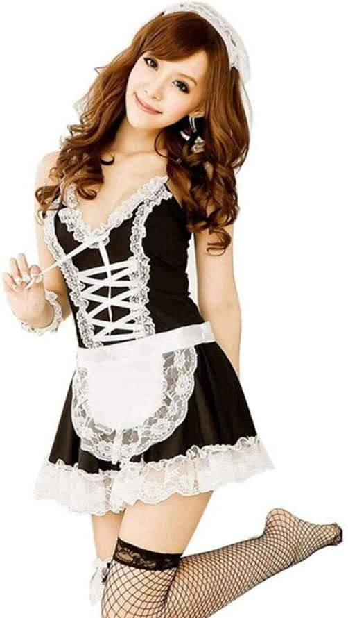 Zhenwo La Ropa Interior Atractiva Ropa Interior Atractiva del Cordón Encantador Hembra Criada Atractiva Mini Falda Lolita Maid Equipo Atractivo del Traje