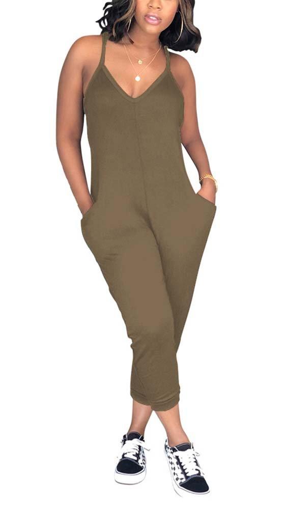 Deloreva Women Casual Jumpsuit Sleeveless Strap V Neck One Piece Romper Harem Pants Playsuit Overalls Khaki L
