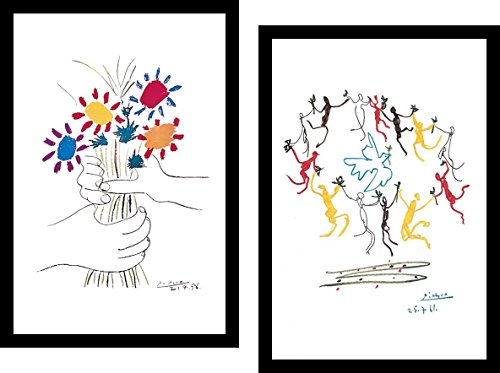 "Buyartforless IF IF MUS099X & MUS215X 18x12 Framed Set Dance of Youth and Petit Fleurs by Pablo Picasso Art Print Poster Wall Décor, 18"" X 12"""