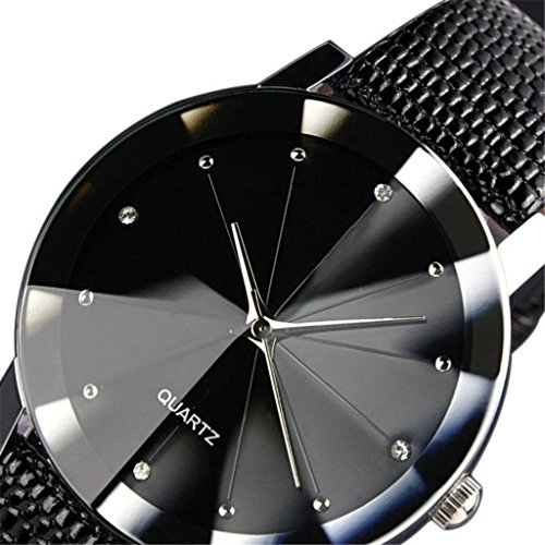 Clearance!!! Pengy Luxury Quartz Sport Military Stainless Steel Dial Leather Band Wrist Watch (Black c)