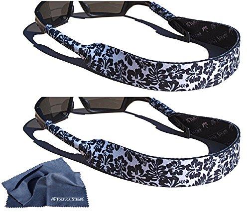Tortuga Straps FLOATZ by Playa Vida – 2 Pack, Maui Black, Adjustable, Neoprene Floating Sunglass Straps and Eyeglass Holder – Fits Small & Oversized glasses to securely retain on head - Jet Sunglasses