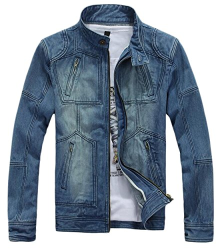 Mens Hipster Zipper Detail Washed Motorcycle Denim Jacket L