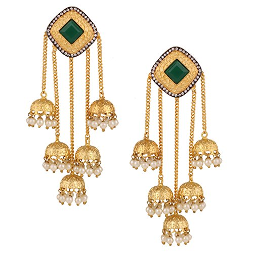 Swasti Jewels Bollywood Jhumka with Pearls Fashion Jewelry Earrings for Women (Green) -